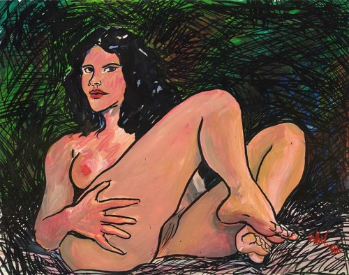 reclining nude 11 x 14 inches gouache and india ink on paper 1986 Artist: Norman Engel