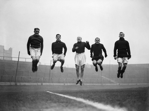thefootballarchivist:  February 1932: Chelsea players (from left to right: Barber, O'Dowd, Law, Cheyne and Pearson) enjoy a training session in the run-up to their FA Cup quarter-final tie with Liverpool. The Blues won that game 2-0 but lost to Newcastle in the last four.