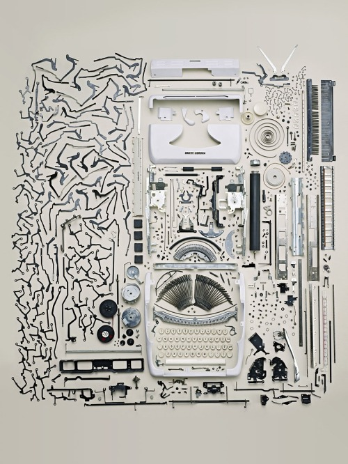 Todd Mclellan meticulously disassembles everyday objects for his photography, such as this deconstructed typewriter.