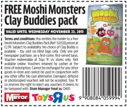Here's the voucher for a free pack of Moshi Clay Buddies we teamed up with The Mirror and Toys R Us last November!