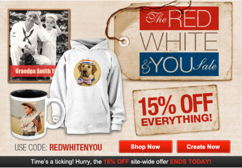 The Red White & You Sale @Zazzle 15% OFF Everything. Use code: REDWHITEYOU at checkout. http://www.zazzle.com/detourdesignables
