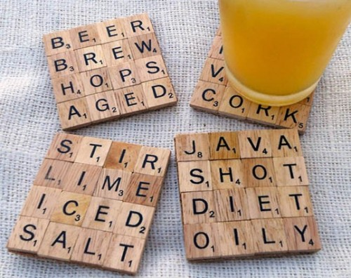 DIY: Scrabble Coasters. An elegant solution to alcoholic glass sweat. Next time, mouse trap board game coasters. A project seen repeatedly across Etsy but always enjoyable.Thanks INHABITAT.