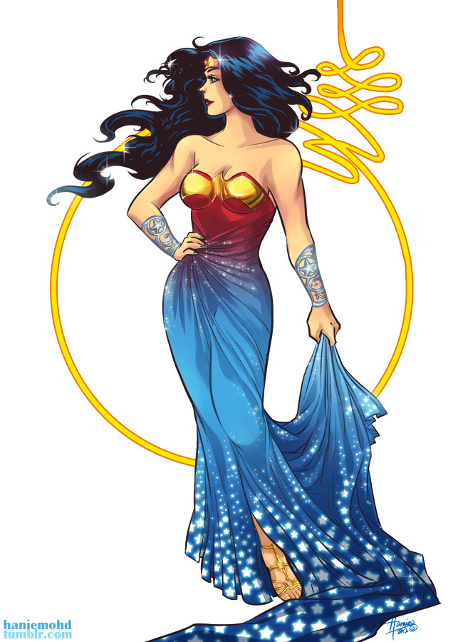 Follow up to the Wonder Woman inspired dress! I thought I'd take a stab at depicting a more mature and glamourous outfit based on Wondy's costume. Also, I'm on an ombre fabric kick right now, and I wanted to see if it'd work with Wondy's costume colour scheme :) You can see a slightly different version (just more stars tossed in XD) here. Now that's out my head, back to work work work!! (I'msobehindonstuffandyetI'mdoingstufflikethisarrghghghwhyyyy)—————————————————————————————————- ARTWORKS DC Girls In Sweaters Facebook Page