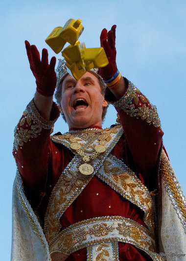 "nolanews:  Will Ferrell delivers ""More cowbell!"" at the Krewe of Bacchus parade on Sunday, Feb. 19 in New Orleans. Teehee."