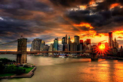 skyscraper:  Manhattan HDR sunset via new-yorkcity: 500px.com