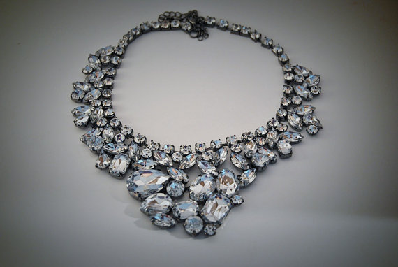 "Found ""Bridal Statement Necklace - Antique Silver with Rhinestones"" on Etsy.com"