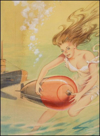 "theticketthatexploded:  ""Undersea Guardians,"" Unknown artist. Amazing Stories, December 1944. (via Fantasy Ink: Sunday Science Fiction)"