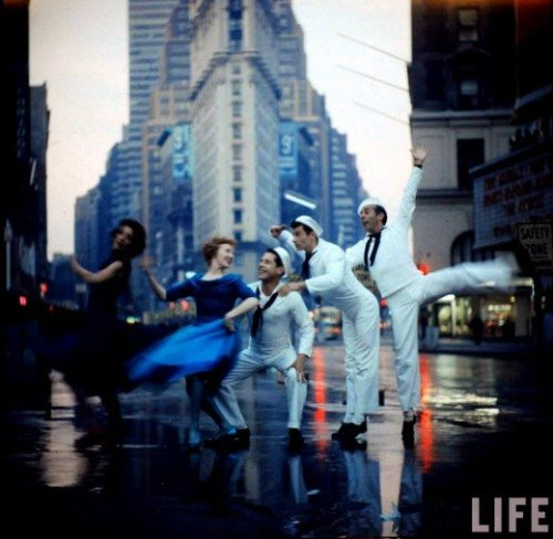 Cast of the revival of 'On The Town' dancing on Broadway, 1958, photographed by Gordon Parks.