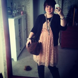 Blush pink lace dress, paired with leather boots and lots of heavy jewelry? Yes please. Headed out to work, as always!