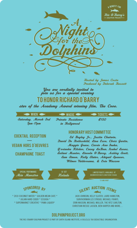 On March 3rd, 'A Night for the Dolphins' will honor O'Barry and raise funds for his Dolphin Project at a private home in Hollywood. The red carpet event produced by Deborah Bassett and hosted by James Costa will feature a cocktail reception, champagne toast and vegan hors d'oeuvres. DJ Kolade and singer Mia Maestro will provide entertainment. A limited number of tickets are available from Brown Paper Tickets (the event is 21 and over).