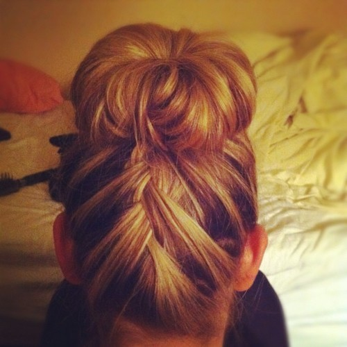 My hair - sock bun & french braid.