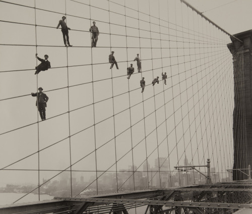 Painters on the Brooklyn Bridge Suspender Cables - October 7, 1914 Eugene de Salignanc