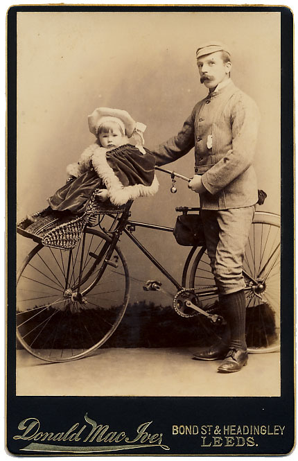 maudelynn:  Not a new idea… Victorian Man with a baby carrier on the front of his Bicycle