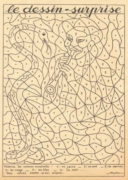 gilliflower:  Le Dessin-Surprise, from a vintage coloring book, late 1940s. Image via agence eureka.