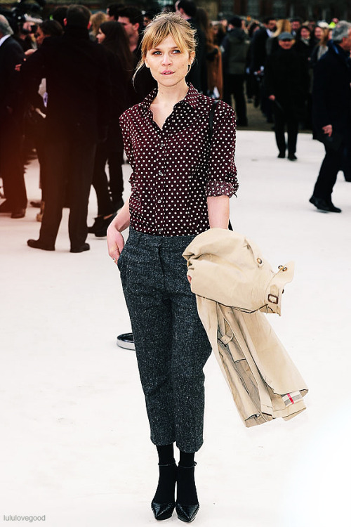Clemence Poesy at Burberry Prorsum A/W 2012 during London Fashion Week