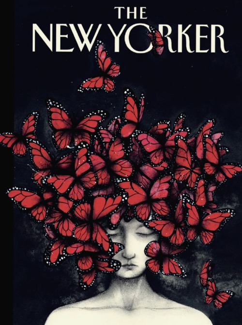lavelaundry:  REMEMBERING MCQUEEN: The New Yorker's style issue pays homage to the late Alexander McQueen with a cover illustration that features the designer's butterfly hat, originally inspired by muse Isabella Blow.