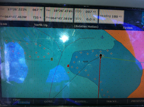 Picture of our chart plotter at our current anchorage at White Bay on Jost Van Dyke.  This, my friends, is why you take the gps with a grain of salt.  Not to worry, we're perfectly safe in about 7-8 ft of water.