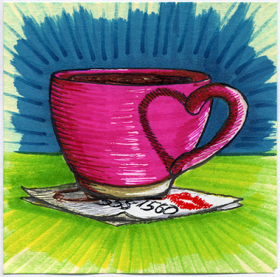 "I drew you a belated pink Valentine's Day mug I started drawing this one on Valentine's Day morning but never got a chance to finish it. Found some time today to finish the love. I hope you like it. This is part of my ""The Daily Coffee"" marker drawing series."