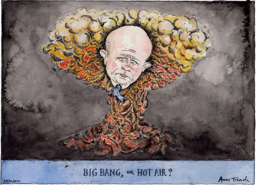 'Big Bang, or Hot Air?', comment cartoon for the Guardian 20/02/2012