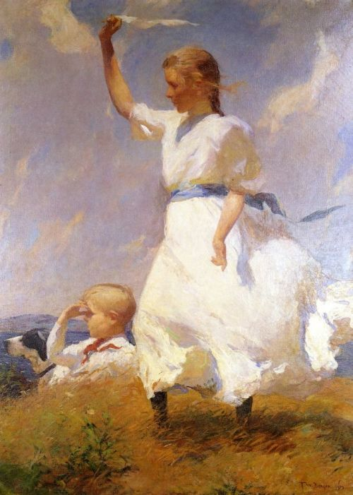 "madamescherzo:  veareflejos:  colourthysoul:  Frank Weston Benson -  The Hilltop William H. Gerdts, art historian, wrote of Benson's work: ""Frank Benson painted some of the most beautiful pictures ever executed by an American artist. They are images alive with reflections of youth and optimism, projecting a way of life at once innocent and idealized and yet resonant with a sense of certain, selective realities of contemporary times.""  Such warmth and vitality. Sorely lacking in modern art."