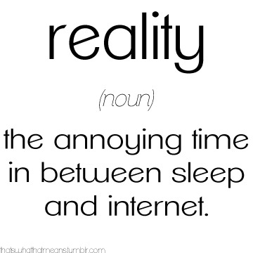 thatswhatthatmeans:  Reality (noun) - That annoying time in between sleep and internet submitted by nerd-power-go
