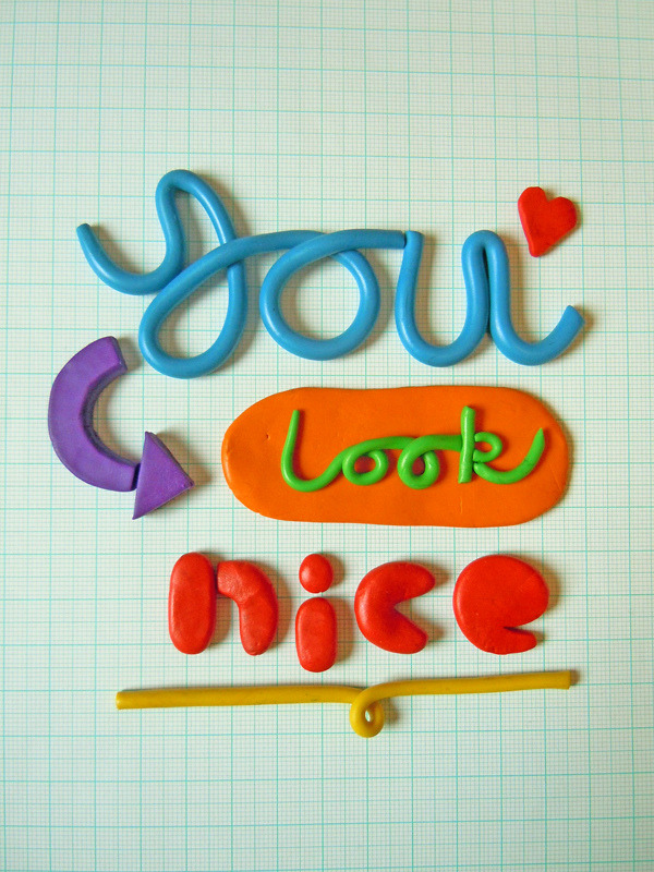 heyoscarwilde:  Baby It's You Plasticine typography by Steph Baxter :: via stephsayshello.co.uk