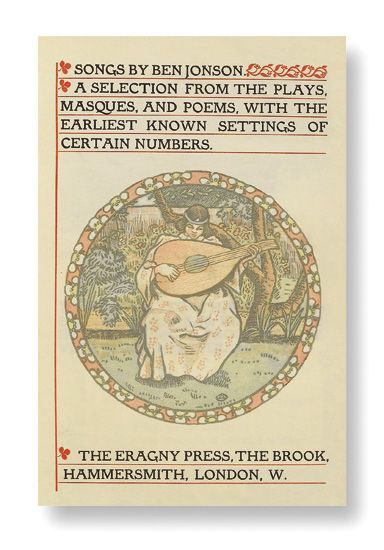 book-aesthete:  Songs by Ben Jonson: A Selection from the Plays, Masques, and Poems, with the Earliest Known Settings of Certain NumbersBen Jonson. Eragny Press, London, 1906. Printed in red and black on vellum. Colored frontispiece, border and initials by Lucien Pissarro, engraved by Esther Pissarro. Small 8vo, gilt-lettered red calf with gilt leaf design on turn-ins, by Blackwell, joints starting, upper tips bumped. Norman J. Sondheim bookplate. Dedication Copy. One of only ten copies on vellum.__________________________________Though I Am Young and Cannot Tell Though I am young, and cannot tell Either what Death or Love is well, Yet I have heard they both bear darts, And both do aim at human hearts. And then again, I have been told Love wounds with heat, as Death with cold; So that I fear they do but bring Extremes to touch, and mean one thing. As in a ruin we it call One thing to be blown up, or fall; Or to our end like way may have By a flash of lightning, or a wave; So Love's inflamèd shaft or brand May kill as soon as Death's cold hand; Except Love's fires the virtue have To fight the frost out of the grave.