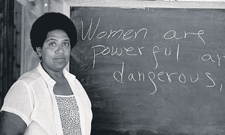 "afrodiaspores:  Portrait of Audre Lorde by Robert Alexander, 1983. Jackie Kay writes,  Audre Lorde dropped the y from Audrey when she was still a child so she could be Audre Lorde. She liked the symmetry of the es at the end. She was born in New York City in 1934 to immigrants from Grenada. She didn't talk till she was four and was so short-sighted she was legally blind. She wrote her first poem in eighth grade. The Black Unicorn, her most unified collection of poems, partly describes a tricky relationship with her mother. ""My mother had two faces and a frying pot / where she cooked up her daughters / into girls … My mother had two faces / and a broken pot /where she hid out a perfect daughter /who was not me""…After her mastectomy, she chose not to have prosthesis, opting for asymmetry instead, and wore one dangling earring and one stud for unequal measure. From the little girl who loved those matching es, she'd come not exactly full circle but a revolution and a half."
