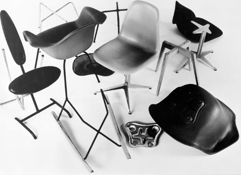 Stamped metal prototypes of the designs that eventually became the Eames molded plastic chair via