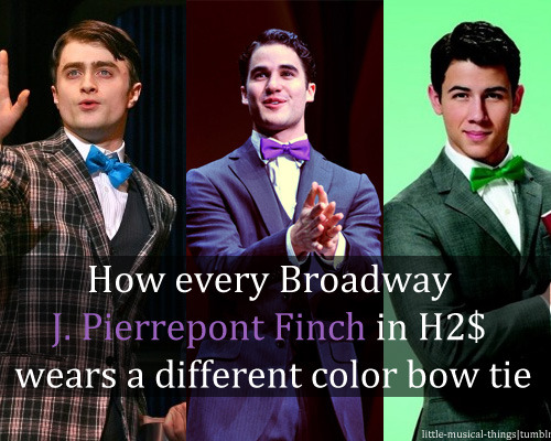 little-musical-things:  How every Broadway J. Pierrepont Finch in H2$ wears a different color bow tie
