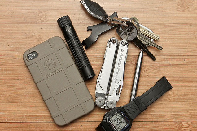 EDC By: olstudios Magpul Field Case - Black 16GB iPhone 4 Fenix E11 - Purchase On Amazon » Leatherman Wave - Purchase On Amazon » Casio Watch - Purchase On Amazon » Fisher Space Pen - Bullet - Purchase On Amazon » Key Chain - Carabiner, Gerber Shard, LED light