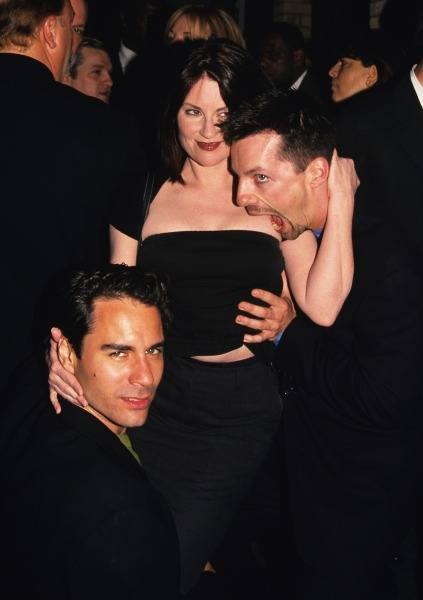 Megan Mullally, Sean Hayes, and Eric McCormack (Will & Grace) pictured at a NBC party at Spy Bar in New York City on May 17, 1999.