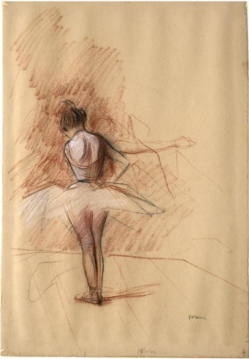 Jean Louis Forain Danseuse vue de dos/Ballet Dancer Seen from the Back, 1895 Black, red and white chalk on light brown paper 48.1 x 32.9 cm Degas once said of Forain, 'he paints with his hands in my pockets.' The two artists were actually extraordinarily close friends and often worked together in Parisian  theatres and cafes.