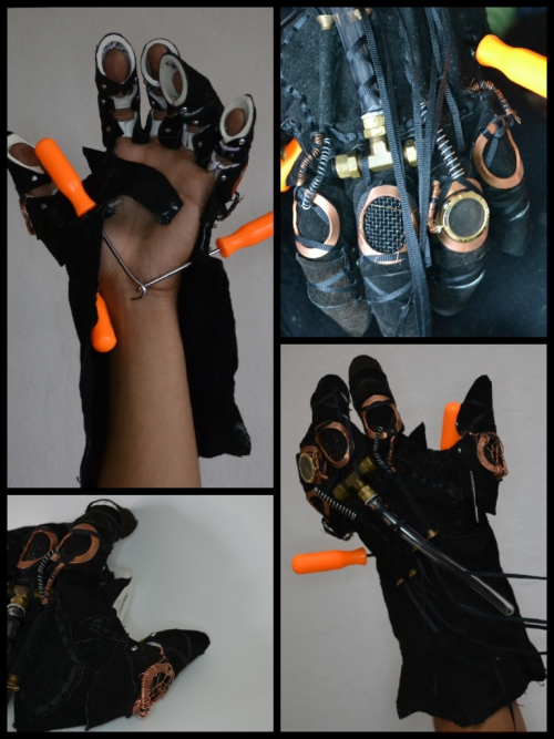 Work in progresS. My steampunk glove and soon to be armature sleeve, and shoulder piece.