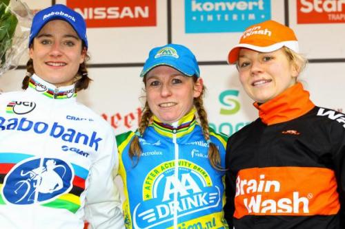 GVA Trofee - Internationale Sluitingsprijs Oostmalle 2012: Podium, Photos | Cyclingnews.com 1.   Daphny van den Brand (Ned) AA Drink-Leontien.nl, 0:43:292.   Marianne Vos (Ned) Rabobank, s.t.3.   Sanne van Paassen (Ned) Brainwash Wielerploeg, + 01:484.   Sanne Cant (Bel) Boxx VeldritAcademie, + 01:505.   Nikki Harris (GBr) Young Telenet Fidea, + 02:126.   Sabrina Stultiens (Ned) Brainwash Wielerploeg, + 02:407.   Arenda Grimberg (Ned) + 03:078.   Helen Wyman (GBr) Kona, + 03:149.   Pavla Havlikova (Cze) Young Telenet Fidea, + 03:1610. Joyce Vanderbecken (Bel) + 04:07 Race report & full results It was Daphny van den Brand's final race before she retires, so  apparently Marianne Vos suggested all the riders wear Daphny-style  plaits, in honour of her - such a sweet idea! More photos of the CX riders in braids on Cyclingnews!