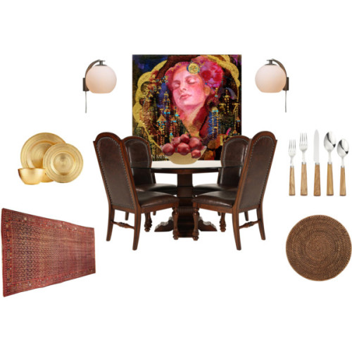 A quick design I did on Polyvore for a Bohemian style dining room… debating what colors the walls should be painted. I would normally go with a dull, warm gold, but that may be too much with the artwork. *dilemmas* A soft turquoise? (via Interior Styles and Design: Get The Look - Bohemian Gypsy Dining Room)