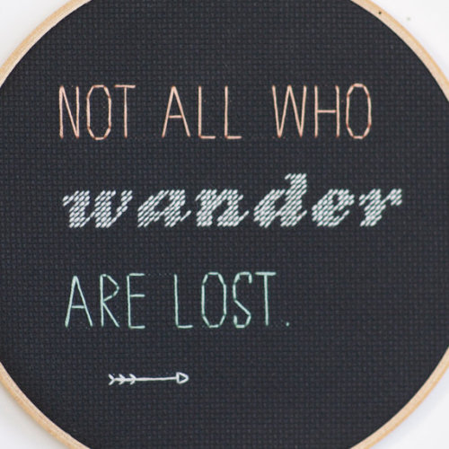 Embroidered quote. Love how this is on black.