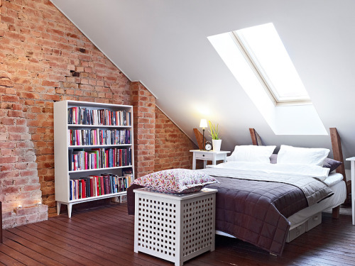 myidealhome:  attic bedroom with exposed bricks (via Stadshem)
