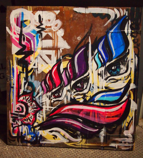 My Painting from Friday night at Mindelixir Presents: Bass Church 21 feat RUN DMT acrylic on found wood door sold