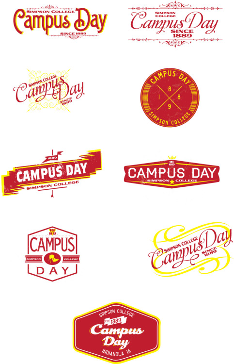 """trendy"" vintage Campus Day logos for Simpson College"