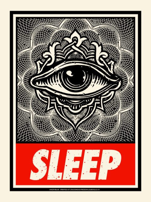 Sleep Rules Everything Around Me Sleep is 18x24, 2 colors and a run of 150. Signed/Numbered, of course. $20(+Shipping) www.angryblue.com
