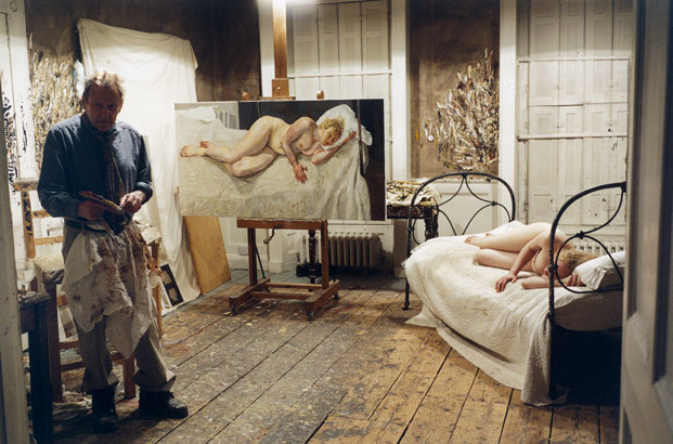 Lucian Freud in his studio, 2007, photo by David Dawson