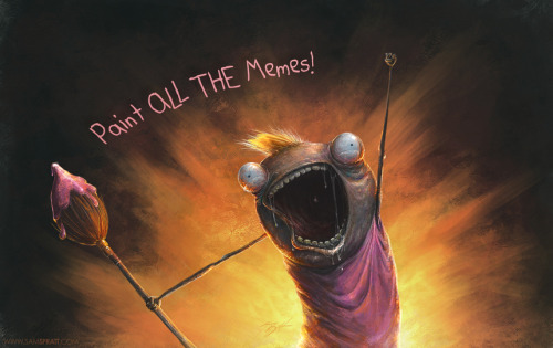 """Paint ALL THE Memes"" by Sam Spratt 2.5 hour speed-painting video:  My… twisted/""realistic"" take on Allie Brosh's hilarious and well-known ""Clean all the things"" meme—painting it how I see it rather than what it is probably supposed to be. All credit to the original character design goes to http://hyperboleandahalf.blogspot.com/  (My sincerest apologies for mutilating your creation, Allie). Music by the amazing Sarah Winters:"