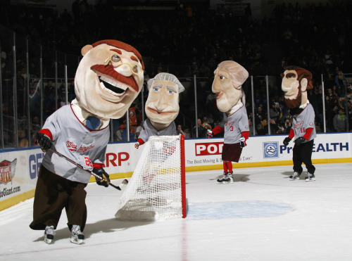 The Washington Nationals racing presidents went on tour last night.  (I bet they still wouldn't let Teddy win).   nationalpostsports:  To celebrate Presidents' Day, mascots dressed as U.S. presidents compete in a race between periods of the New York Islanders-Ottawa Senators game at the Nassau Veterans Memorial Coliseum on February 20, 2012 in Uniondale, New York. The Islanders lost 6-0, with Erik Karlsson and Jason Spezza each scoring a pair of goals.Photo: Bruce Bennett/Getty Images