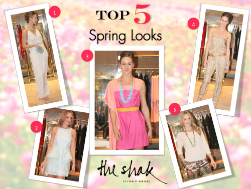 The Shak: Top 5 Picks for Spring    The Shak buyer, Shannon Moore, chose her top 5 Spring looks for the women's trend meeting last week. Looks including neutrals, prints, pops of color, and flirty details will have you ready for the upcoming season in no time! 1. 3.1 Phillip Lim Silver Jumpsuit $750 2. Tibi Mint Cut-Out Back Cocktail Dress $440 3. Sass & Bide Tricolor Dress $485 4. Haute Hippie Snakeskin Printed Jumpsuit $475 5. Brochu Walker Linen Sweater $245, Carven Silk Printed Short $385 Amanda Sterett Leather and Turquoise Necklace $400 Step into Spring with the help of the Shak at Stanley Korshak. Please call 214.871.3641 for more information.