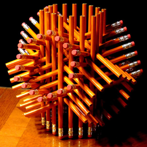 laughingsquid:  Intricate Geometric Sculpture Made with 72 Pencils