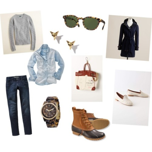 Spring Break in the Windy City by taswaim featuring leather loafers   Well, it doesn't look like I'll be going to SXSW for my spring break this year as planned, but instead I'll be spending a few days in Chicago with my dear friend, Annie.        I tried to put together something that's comfortable enough for a chilly spring day of museum hopping, but nice enough for brunch or a happy hour drink. The white leather loafers can be easily stashed in a bag or car and swapped out when the time comes for such activities, and the bean boots are of course perfect for puddle jumping around a less than clean city like Chicago.