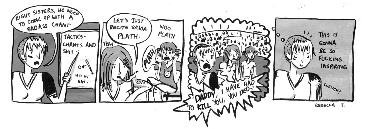 Comic jamming with Kate: this is my feminist softball comic. I APOLOGISE FOR NOTHING.