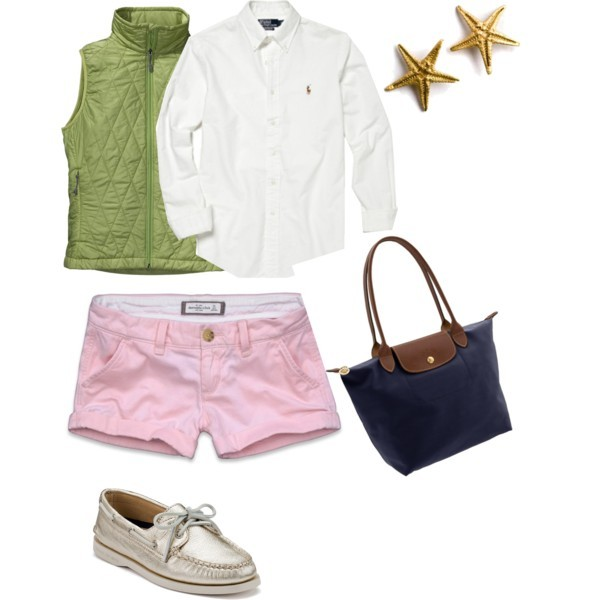 Spring! by sweetsailin featuring boat shoesPatagonia vest, $139Abercrombie & Fitch short shorts, $17Polo Ralph laurenSperry Top-Sider boat shoes, $90Longchamp tote, $125Fifi Bijoux stud earrings, £50
