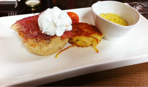 Eggs Benedict with prosciutto and tarragon truffle hollandaise from Four Season's EDGE restaurant. Sooo good